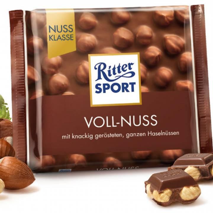 Шоколад молочный Ritter Sport с лесным орехом и молоком 100 г