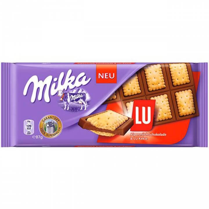Милка: Шоколад молочный с бисквитным печеньем Lu