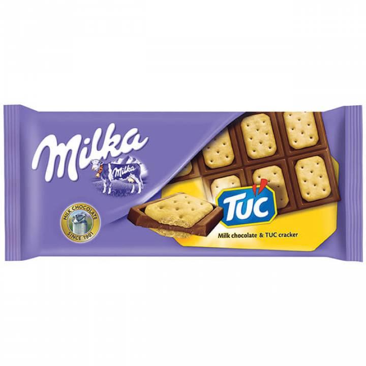 Милка: Шоколад молочный с соленым крекером Tuc