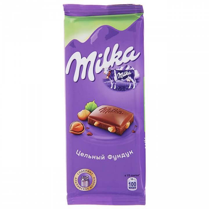 Милка: Шоколад молочный с цельным лесным орехом