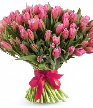 Букет 101 розовый тюльпан