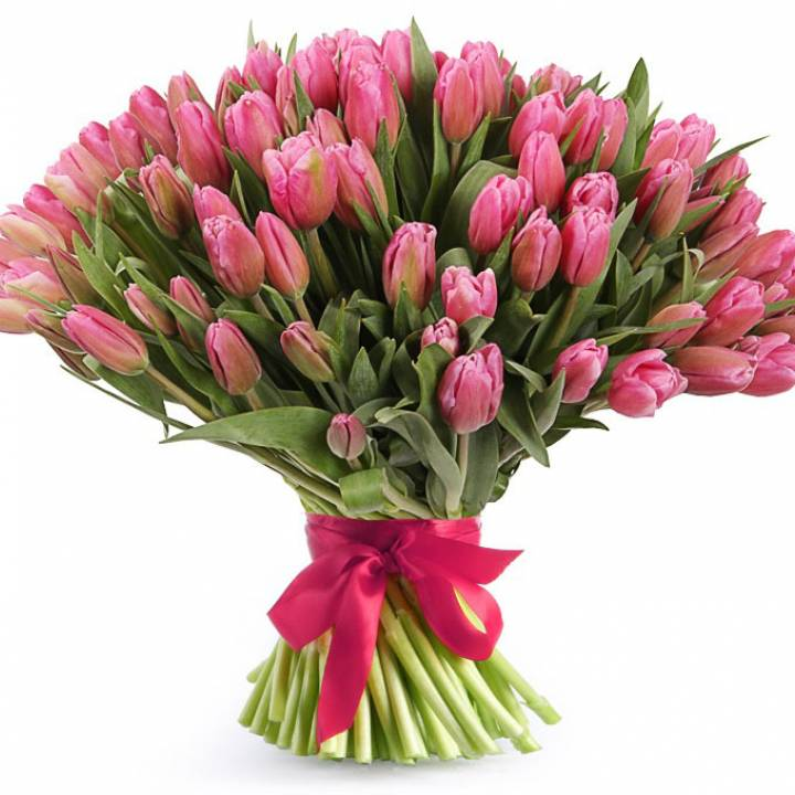 Букет 101 тюльпан, розовые