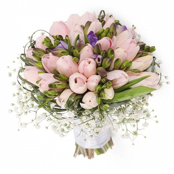 Букет 51 розовый Тюльпан и Фрезия