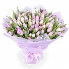 101 розовый и белый тюльпан в букете
