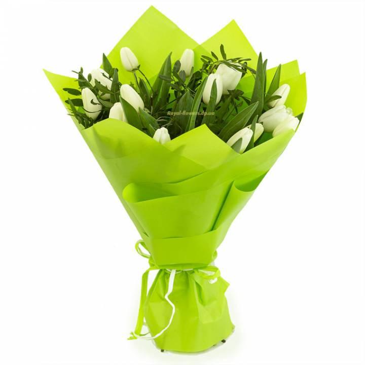 15 белых тюльпанов в букет