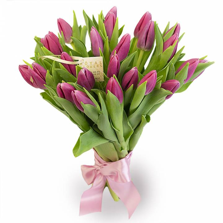 25 розовых тюльпанов в букете Нежные слова