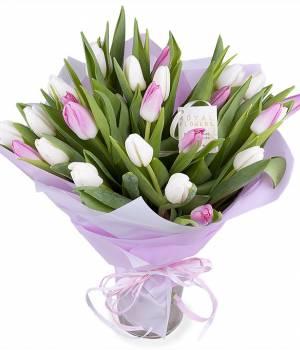25 белых и розовых тюльпанов в букете