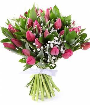 51 фиолетовый тюльпан и гипсофила