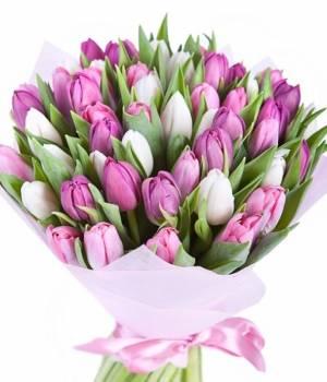 51 тюльпан в букете Нежность