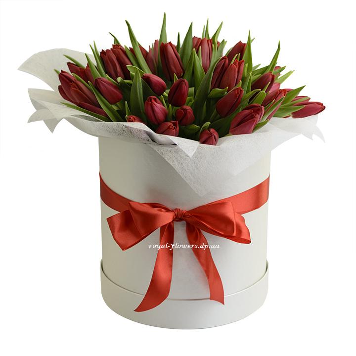 51 красный тюльпан в шляпной коробке коробке - тюльпаны -Днепр