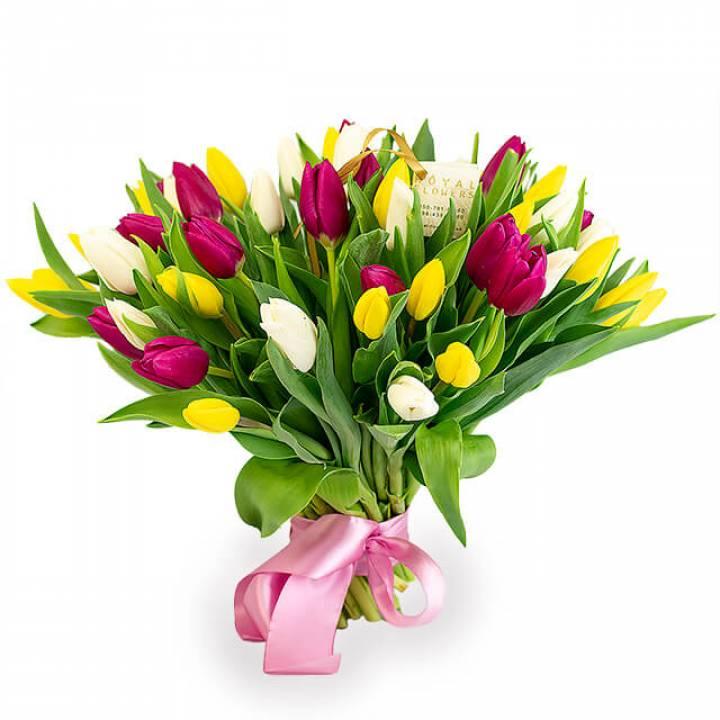 Букет 51 тюльпан - Солнечный Мик