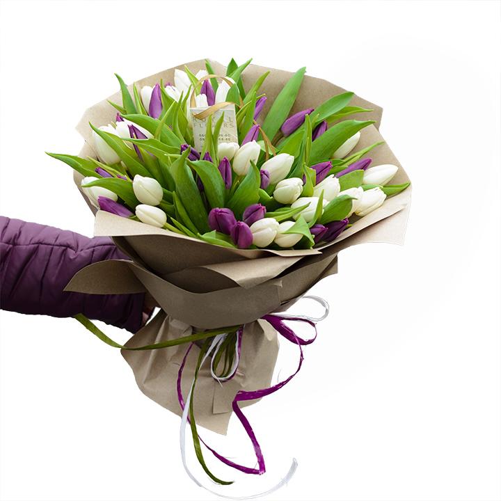 Букет: 51 белый и фиолетовый тюльпан - Днепр