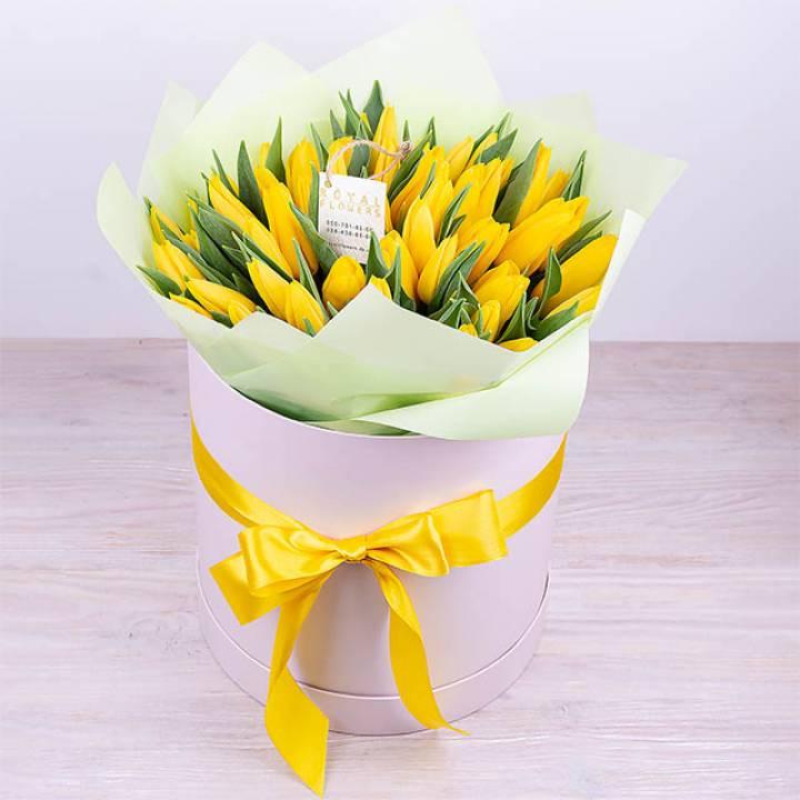 51 желтый тюльпан в шляпной коробке