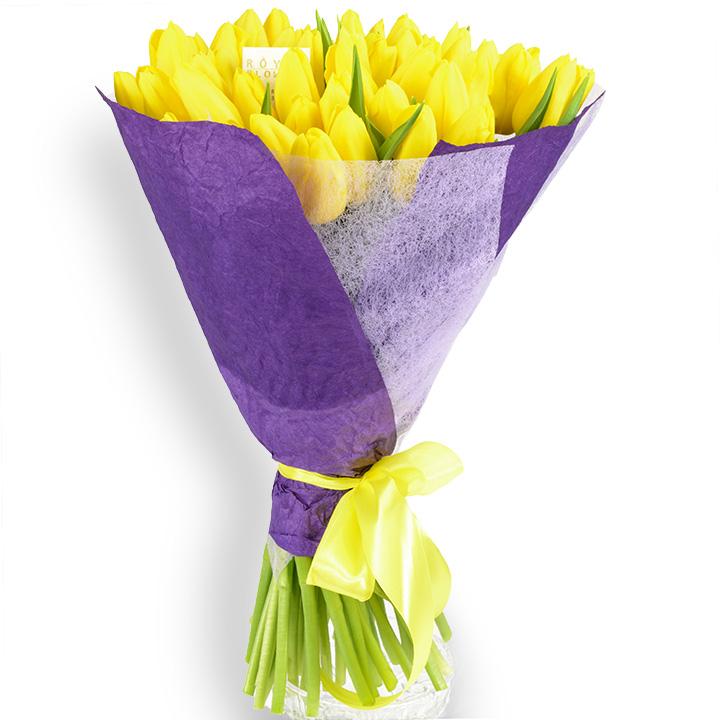 Букет тюльпанов: 51 желтый тюльпан
