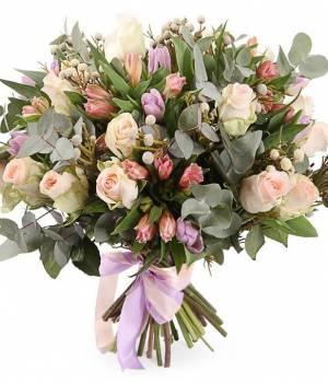 Букет тюльпанов Микс с розами